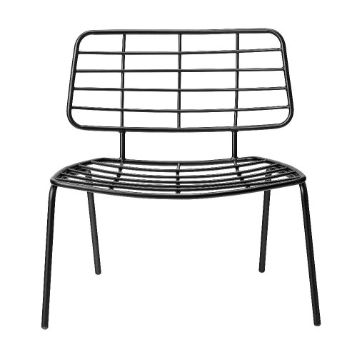 87200001 - Fotel Mesh Lounge Chair, czarny - Bloomingville